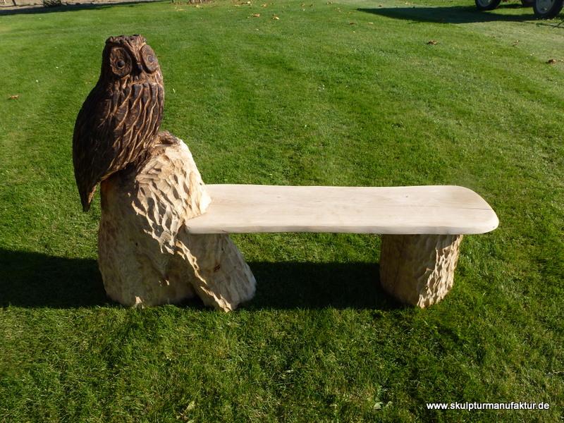 Eule mit Sitzbank, Eiche