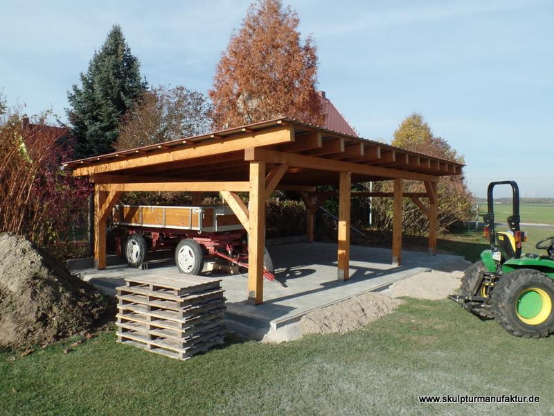 Carport mit traditioneller Holzverbindung, BSH und KVH
